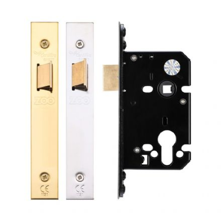 Zoo Hardware ZUKU64PVD Upright Mortice Latch 64mm PVD Brass